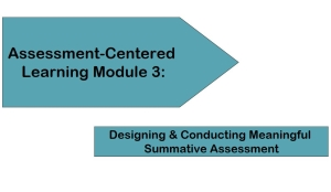 Assessment-Centered Learning Module 3: Designing & Conducting Meaningful Summative Assessment